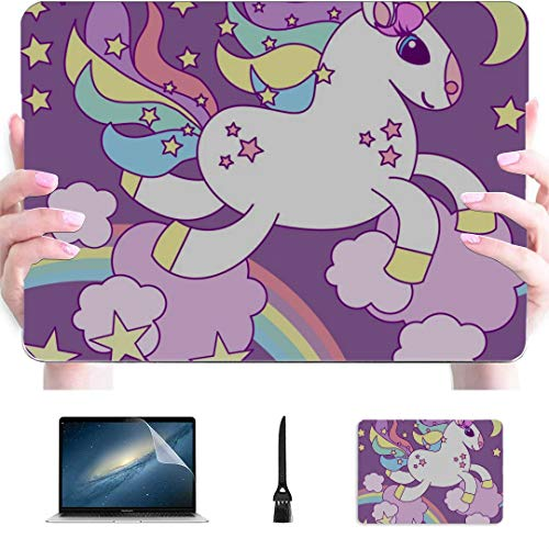 Macbook Pro Cases Sweet Cartoon Unicorn Child And Baby Plastic Hard Shell Compatible Mac Air 13' Pro 13'/16' Macbook Air Accessories Protective Cover For Macbook 2016-2020 Version