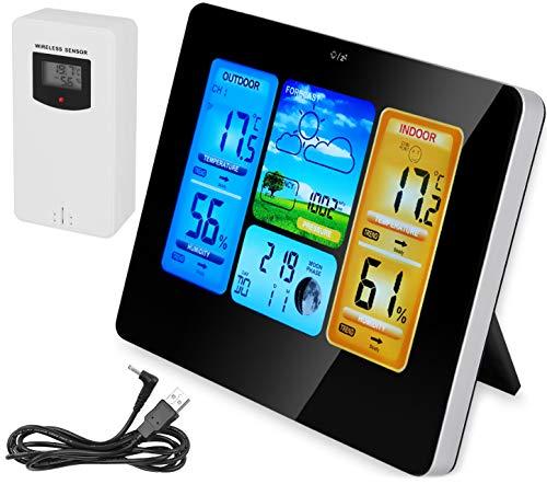 MALATEC Wetterstation mit Farbdisplay Digital Thermometer Hygrometer Wettervorhersage Alarm für Innen und Außen Zuhause Büro 8119
