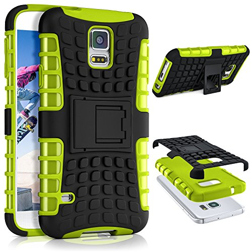ONEFLOW® Tank Case kompatibel mit Samsung Galaxy S5 Outdoor Hülle | Panzer Handyhülle mit Ständer - 360 Grad Handy Schutz aus Silikon & Kunststoff, Grün