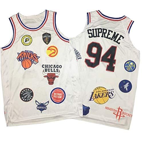 Basketball Trikots #94 Supreme,Co-Branding Hot Pressing Alle Basketball Team Logos Ball Wear Weste Rundhalsatmung Atmungsaktives Quick Dry Mesh Ärmelloses T-Shirt-White-XL