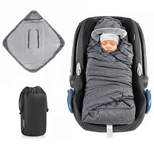 Zamboo Manta Envolvente bebé PRO para Grupo 0+ (válida para cinturón de 3 y 5 puntos) / Arrullo acolchado con forro polar térmico, capucha y bolsa - gris jaspeado