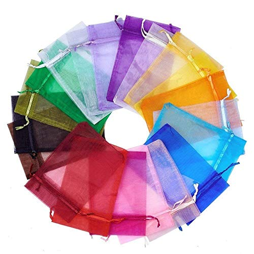 """Wuligirl 100 PCS 5X7 inches Blend Color Drawstring Organza Bag Wedding Baby Shower Party Candy Jewelry Pouches Bags (100 pcs Mix, 5X7"""")"""