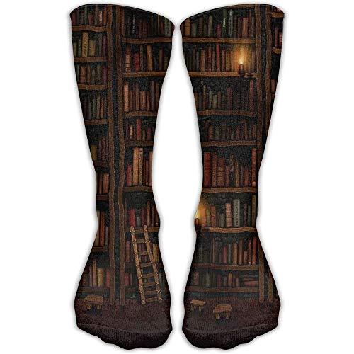 Ahdyr Calcetines unisex de longitud media, estantería de biblioteca Calcetines unisex de la tripulación de la novedad Calcetines de vestir al tobillo Se adapta al tamaño del zapato