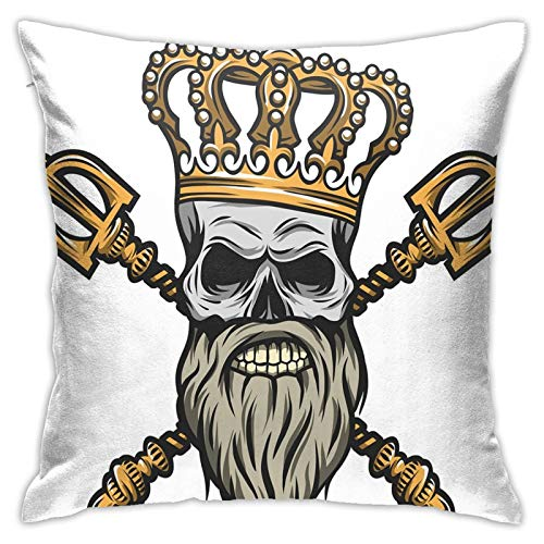 FULIYA Abstract Art Decorative Pillow Cover 18x18,Ruler Skull Head with Gray Beard Crossed Royal Scepter Cartoon Seemed Image,Square Pillowcase for Living Room/Car