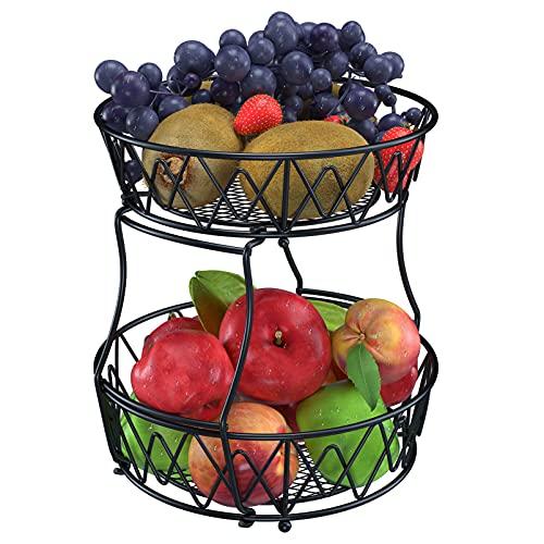 OUTUL Obst Etagere - 2 Stöckig Obstschale Metall für mehr Platz auf der Arbeitsplatte - dekorativer Obstkorb Vintage - schwarz (30 x 30 x 32 cm)