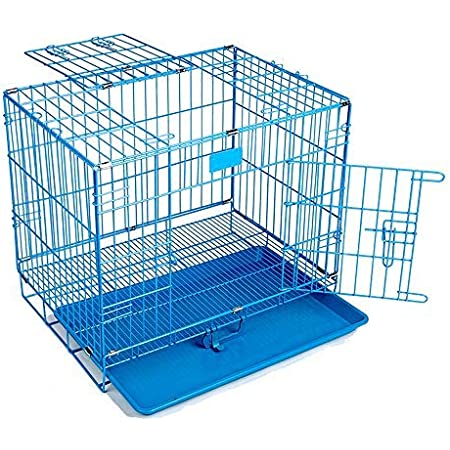 PSK PET MART Blue Powder Coated 24-inch Iron Cage with Removable Tray for Dog (Large)