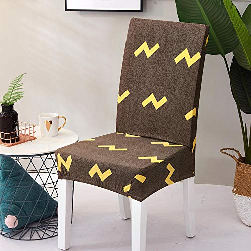 QWFDAQ Printed Dining Chair Cover Brown and yellow lightning letters Removable Washable Soft Spandex Stretch Chair Cover 2 pcs Protector Cover for Dining Room,Living Room,Kitchen,Hotel