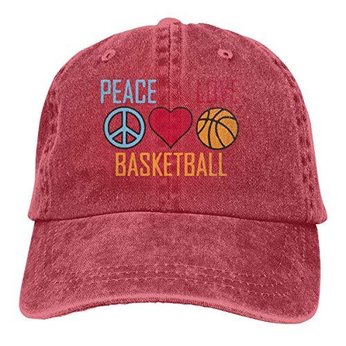 Hoswee Baseballmütze Hüte Kappe Unisex Baseballmütze Peace Love und Basketball Vintage Denim Dad Hut für Frauen