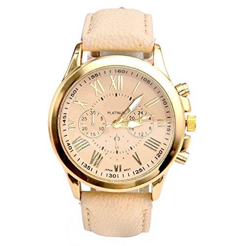 JSDDE Uhren,Elegant Damen Candy Römisch Ziffern Chronograph Armbanduhr,Kunstleder Band Analog Qaurzuhr Beige