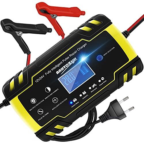 HAUSPROFI Caricabatterie Moto Auto 12V / 24V 8A - Caricabatterie di Mantenimento Auto Moto da 6Ah-150Ah - 4 in 1 Multi Protezioni Caricatore Intelligente Automatico Impermeabile con Touchscreen LCD