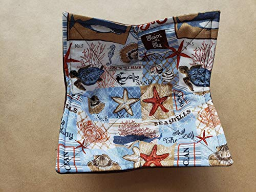 Patchwork Seashell Starfish Beach Microwave Bowl Cozy Summer Reversible Microwaveable Potholder Seas the Day Ocean Anchor Bowl Holder Coastal Home Decor Gifts Under 10 Coastal Themed Gifts