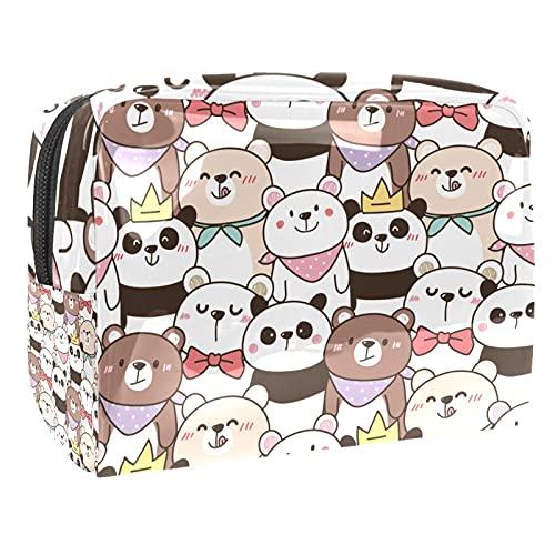 Borsa Cosmetica Da Viaggio Orso Gatto Panda Borsa Di Trucco Portatile Borsa Da Toilett Cosmetici Organizzatore Per Donna Ragazza 18.5x7.5x13cm