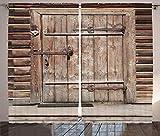 ABAKUHAUS Rústico Cortinas, Madera de Registro de la Puerta Casa, Sala de Estar Dormitorio Cortinas Ventana Set de Dos Paños, 280 x 225 cm, marrón