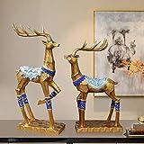 LXGANG Decoración de Pareja de oro Elk adornos hechos a mano de resina productos en Europa y América del regalo de la decoración del hogar de la sala de estudio de entrada Dormitorio 2 / Set elegante