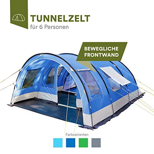 skandika Helsinki 6 Personen Familienzelt, Tunnel Gruppen Zelt mit Versetzbarer Vorderwand, Große Sonnendach, Organizer-Taschen, 5000 mm Wassersäule (dunkelblau)