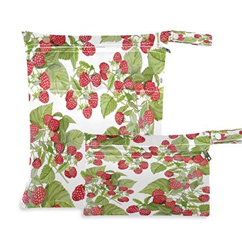 F17 2 bolsas húmedas secas de frambuesa, hojas, hojas, pañales, impermeables, reutilizables para viajes, natación, playa, cochecito, ropa de gimnasio sucio