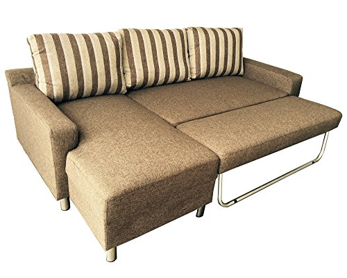 US Pride Furniture Kachy Fabric Convertible Sleeper Sectional Sofa Bed & Facing-Left Chaise, Brown