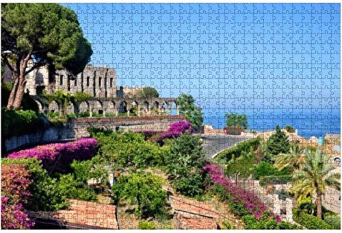 Taormina Sicily Famous Resort Royalty Rompecabezas de madera para adultos Regalo creativo Juguetes Rompecabezas Decoración del hogar, 500 piezas, 52 * 38 cm