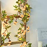 GUOCHENG Novelty 2M 20LED Flower Fairy Lights Artificial Rose Ivy Garland Copper String Lights for Christmas Wedding Bouquets Centerpieces Arrangements Party Home Decorations-Champagne