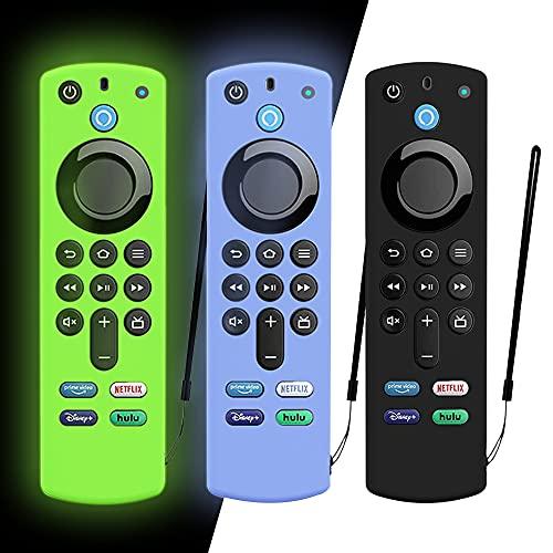 DAZUAN 3 PZ Custodia protettiva per telecomando vocale Alexa (3rd Gen) 2021, custodia in silicone antiurto per telecomando Fire TV Stick 4K con corda anti-perdita (Bagliore Blu+Bagliore Verde+Nero)
