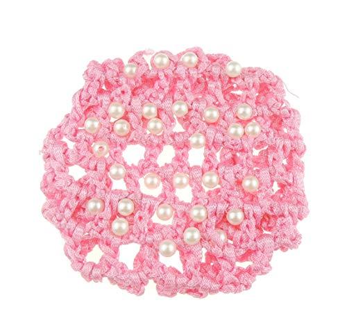 Glamour Girlz - Retina per chignon da donna, con perle finte per balletto, per balletto, balletto, balletto, colore: Rosa caramella