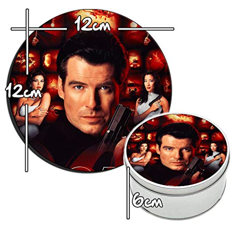 James Bond 007 El Mañana Nunca Muere Tomorrow Never Dies Pierce Brosnan Scatola di Latta Rotonda in Metallo Round Metal Tin Box