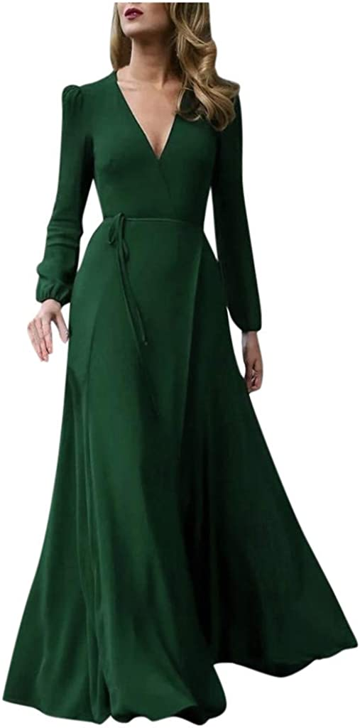 AODONG Dresses for Womens,Womens Dresses Ladies Sexy Maxi Dresses Solid Color V-Neck Large Swing Dress