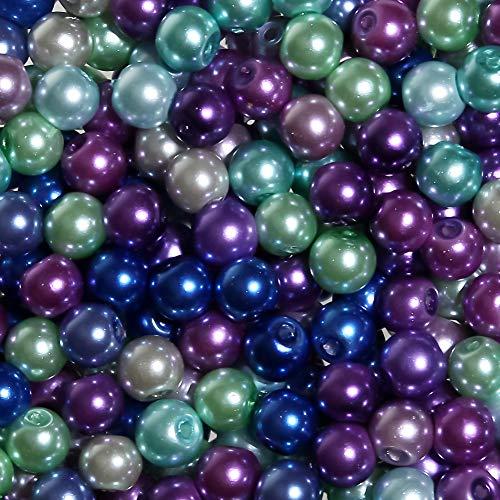 TOAOB 500 Stück 6mm Glasperlen Runde Kalter Ton Mehrfarbig Perlen für Schmuckherstellung