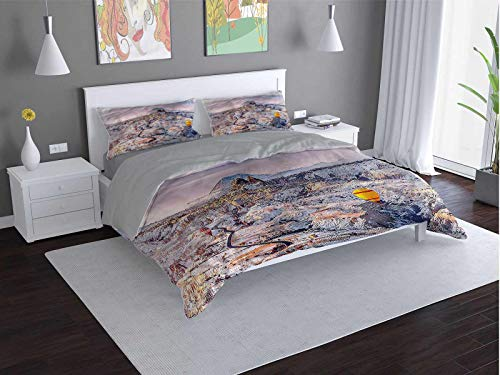 Toopeek Winter 3-pack (1 duvet cover and 2 pillowcases) Cappadocia-Turkey-Valley Polyester (King)