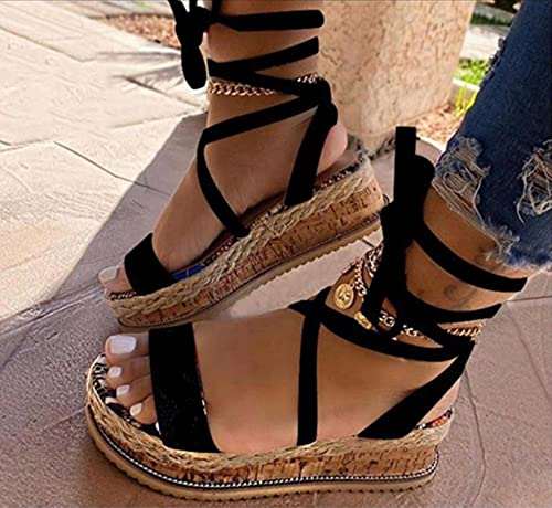 DZQQ Nuevas Sandalias de Verano para Mujer, cuñas, Estampado étnico, Moda, Zapatos Casuales de Serpiente, Zapatos de Mujer con Cordones, Sandalias de Playa de Talla Grande para Mujer