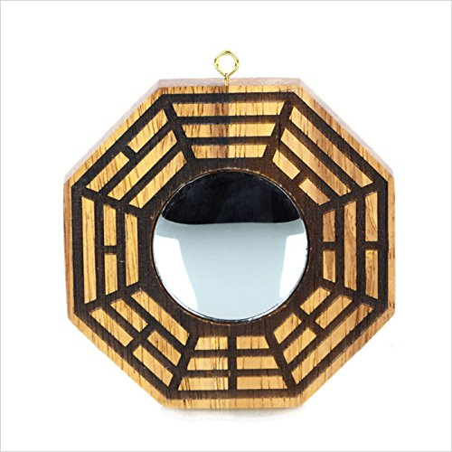 Feng Shui Wood Chinese Bagua Mirror 7.7 Inch (concave)