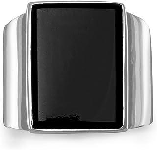 Plata de Ley rectangular negro ónice anillo de piedra 13mm x 18mm velas (18mm hasta 4mm–tamaño Z3