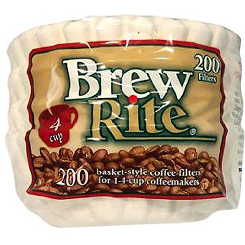 Brew Rite NA 4 Cup Coffee Basket Disposable Filters 200 c (White)