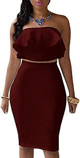 Women's Ruffle Crop Top Maxi Skirt Set 2 Piece Outfit Bandage Nightclub Dress
