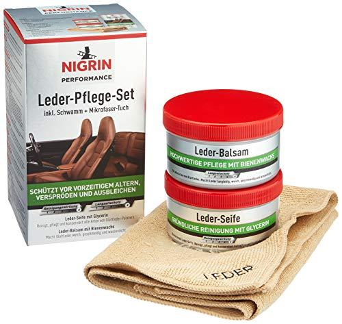 Nigrin Performance Leder-Pflege-Set mit Balsam, Seife, Schwamm und Mikrofaser-Tuch, für Auto-Leder-Bezüge
