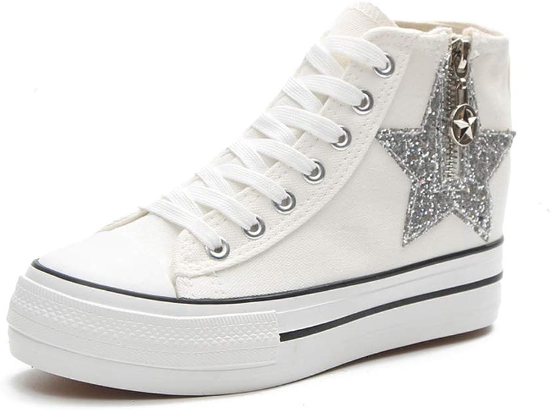 Hoxekle Woman's Star Zipper Lace Up Canvas Casual Flat Platform Sneaker High Top Female Fashion Leisure Walking shoes