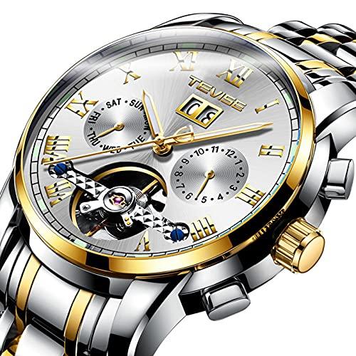 Relojes, Relojes Hombre Mecánico Automático de Lujo de Estilo Clásico Impermeable Números Esfera con Correa de Acero Inoxidable,Set5,38mm