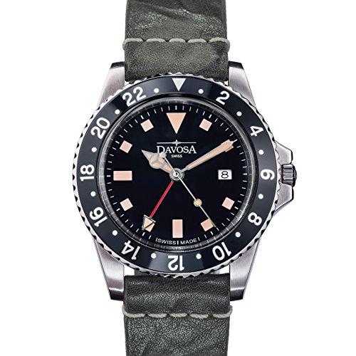 Davosa Reloj Profesional para Hombre, Cuarzo Suizo, Esfera analógica GMT, Estilo Vintage