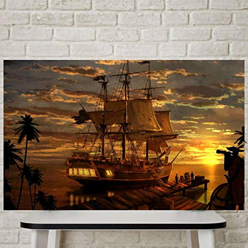 WSNDGWS Modern Wall Art Fantasy Piraat Piraat Schip Python Canvas Schilderij Geen Beeld Frame 30x40cm A2