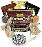Gift Basket Village Warm Gathering Coffee Themed Gift with Oversized Mug, Coffee, Cocoa, Chocolate Coffee Beans, Sweet Stir Spoons and more, holiday coffee, 1 Count