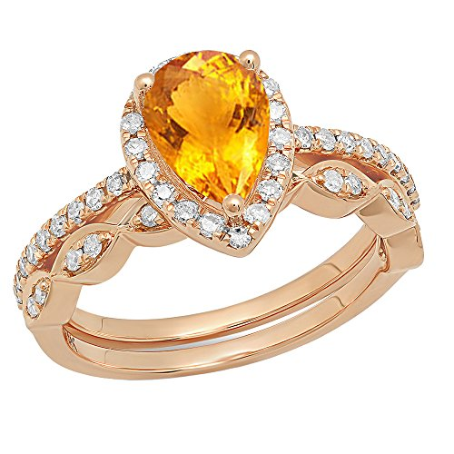 Dazzlingrock Collection 14K 9X6 MM Pear Citrine & Round Diamond Ladies Halo Teardrop Engagement Ring Set, Rose Gold, Size 7