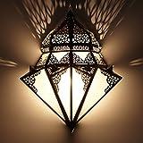 Marrakesch L1428 - Lámpara de pared (42 x 32 cm, metal y vidrio opalino), diseño oriental