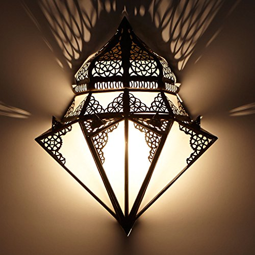 Orientalische Wandlampe marokkanische Wandleuchte Ruhi H 42 x B 32 cm aus Metall & Milchglas | Schöne Dekoration für Ihre Wand | Kunsthandwerk aus Marrakesch | L1428