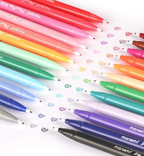 Monami Plus Pen 3000 - Bolígrafos de gel de 24colores, bolígrafos coreanos, papelería para oficina, escuela y talleres de arte, ideal como regalo