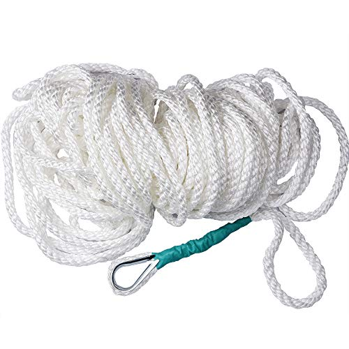 Cuerda de Acoplamiento para Barco, 12 mm Cuerda de Anclaje Trenzada de Tres hebras para Barco, sedal con dedal y 5850 LB de tensión de Rotura