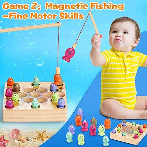 LETOMY Wooden Fishing Toy Game-2 In1Magnetic Fishing Puzzle & Bee Preschool Board, 22PCS Montessori Learning Education Fine Motor Skill Toys, Baby Wooden Toys for 3+ Years Kids Birthday Gifts