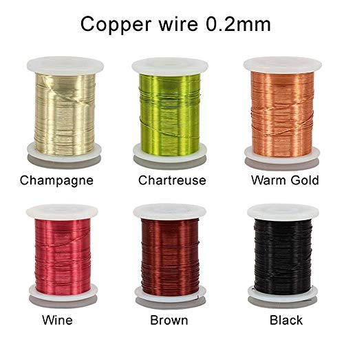 Riverruns 6 Color/Set Non-tarnishing Ultra Copper Wire 0.1mm, 0.2mm Super Realistic Fly Tying Material Proudly from Europe Great Choices for Larve Nymph, Streamer (0.2mm Wire Pack)