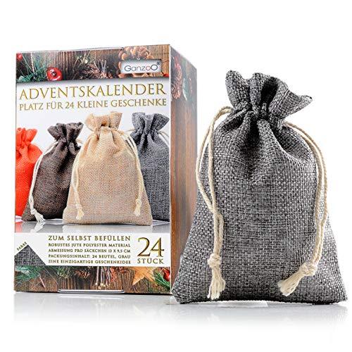 Jutesäckchen   Jute-Beutel   Jute-Sack 24er Set für Adventskalender mit Geschenk-Verpackung, 13cm x 9,5cm, Jutebeutel, Stoffbeutel, Natur Säckchen, Geschenksäckchen, Sack, Beutel, Farbe Grau