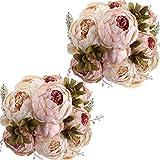 Nubry 2 Piezas Artificial Peonía Seda Flores Bouquet para Boda Inicio Jardín Fiesta Decoración (Rosa Claro)