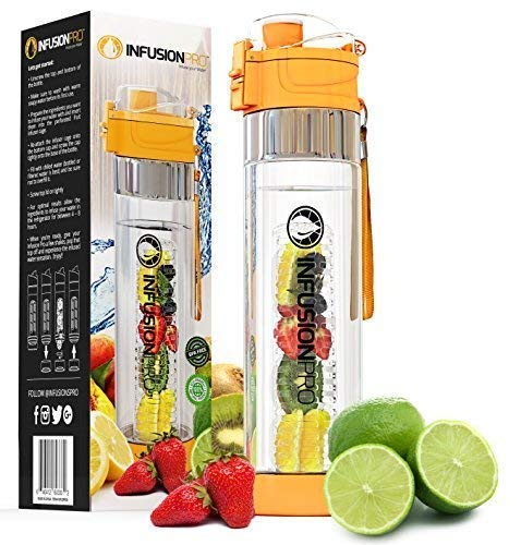 Infusion Pro 24 oz Infusion Water Bottle with Fruit Infuser, Insulated Sleeve & Fruit Infused Water eBook : Bottom Water Infuser for More Flavor : Locking Flip Top Lid : Gift Water Bottles For Women